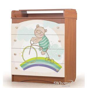 Комод пеленальный Вальтер Мишка на радуге Вишня - ваниль