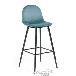 Барный стул La Forma NILSON Бирюзовый велюр