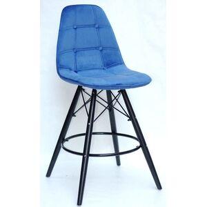 Полубарный стул Onder Mebli Alex BAR 65-BK Синий B-1 Бархат