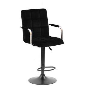 Барный стул Onder Mebli Augusto-Arm BAR BK-BASE Черный B-1011 Бархат