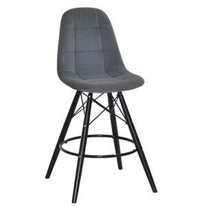 Полубарный стул Onder Mebli Peter BAR 65-BK Серый B-1004 Бархат
