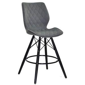 Полубарный стул Onder Mebli Nolan BAR 65 - BK Серый B-1004 Бархат
