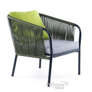 Кресло из ротанга Pradex Твист Темно-зеленое