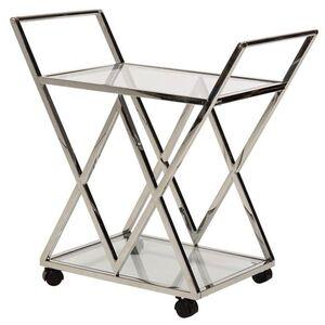 Сервировочный стол Vetro Mebel K-01 Прозрачный-серебро