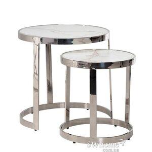Комплект журнальных столов Vetro Mebel CI-1 Белый мрамор - серебро