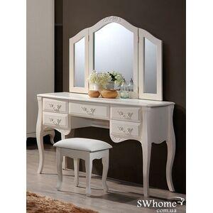 Будуарный столик + зеркало и пуф Domini Богемия Античный белый