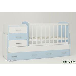 Детская кроватка-трансформер Oris Afina Бело-голубая