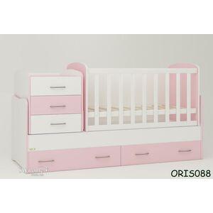 Детская кроватка-трансформер Oris Afina Бело-розовая