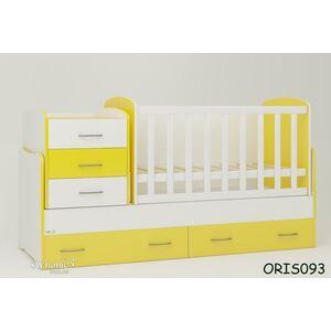 Детская кроватка-трансформер Oris Afina Бело-желтая
