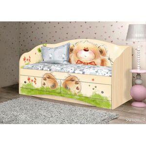Детский диван Вальтер Мишка с букетом с 2 ящиками Венге светлый
