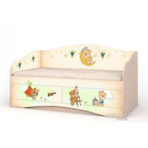 Детский диван Вальтер Мишка Хеппи с 2 ящиками Венге светлый