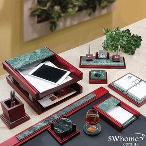 Набор настольный деревянный с мрамором Bestar 9 предметов Красное дерево 9277WDM
