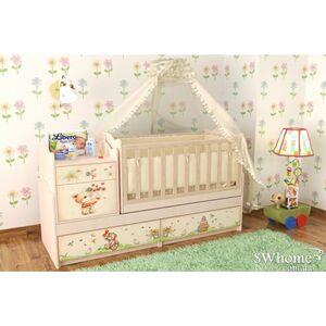 Кровать трансформер Вальтер Мишка с букетом 5в1 Венге светлый