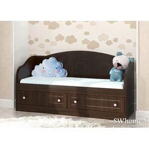 Детский диван Вальтер Мишка с 2 ящиками Орех темный