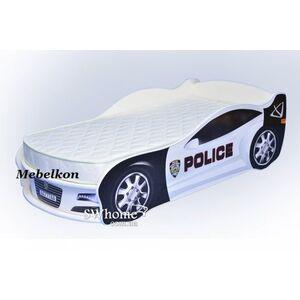 Кровать машина MebelKon Jaguar Полиция Белая