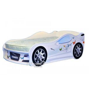 Кровать машина MebelKon Jaguar Белая с бабочками