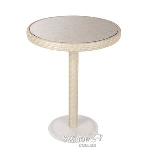 Стол из ротанга Pradex Бейсик-М круглый Белый